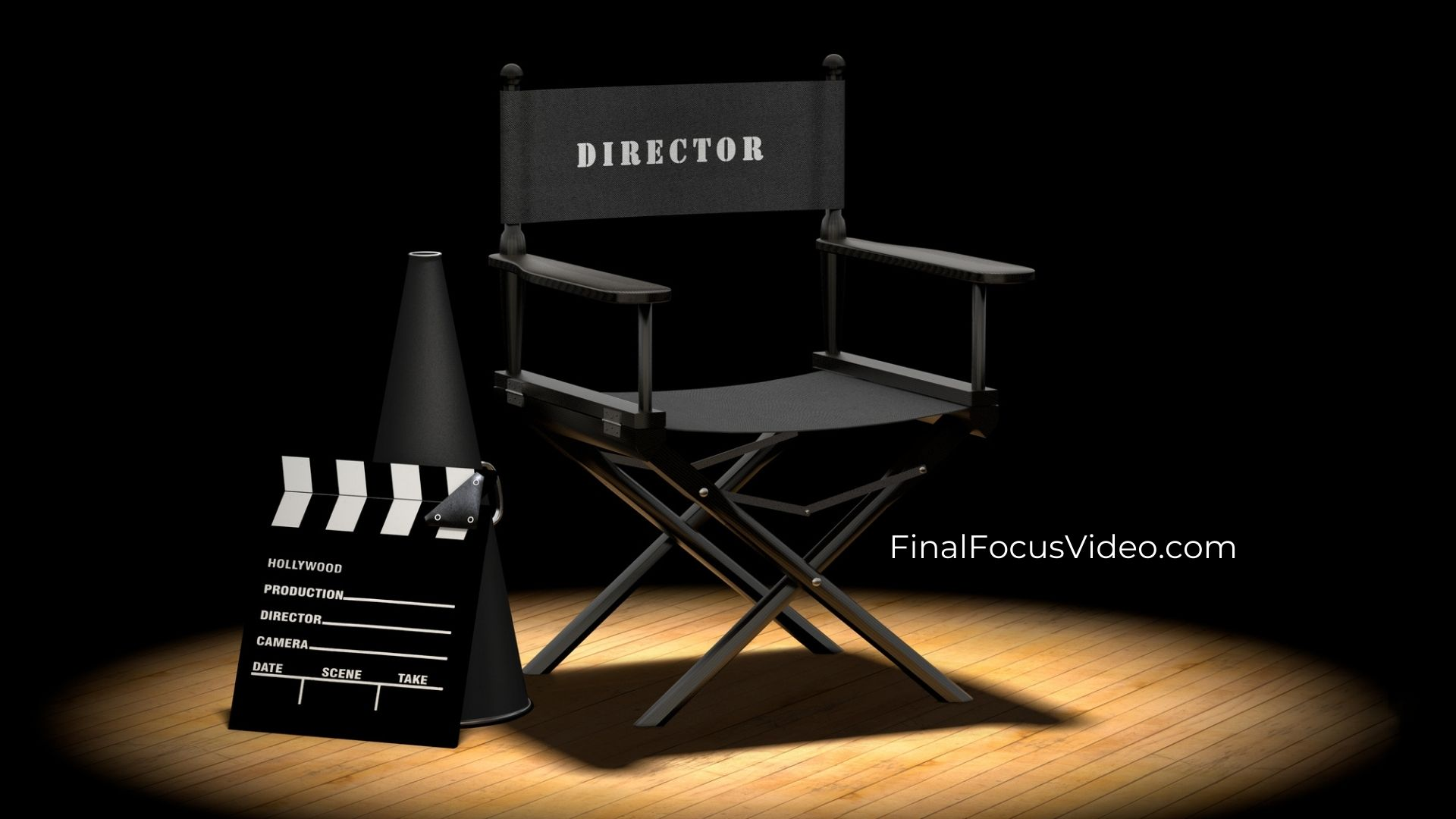 Final Focus Productions, Director Chair with the copy, We Don't Mind Hanging in the Background Taking Care of Things for You