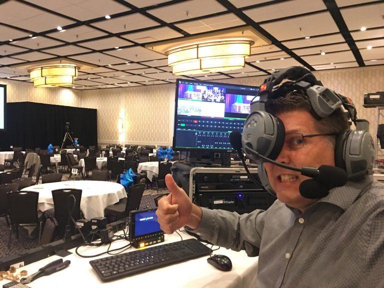 Final Focus Productions FOunder Steve Kownacki Crazy Busy pic showing him tangled in his headset